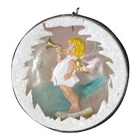 German Glass Angel Horn Diorama Scene Christmas Ornament