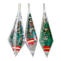 Jewel Brite Glittered Brush Trees Plastic Christmas Ornaments
