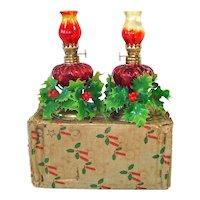 Box Set Miniature Amberina Kerosene Oil Lamps Christmas