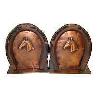 Craftsman Copper Horseshoe Bookends