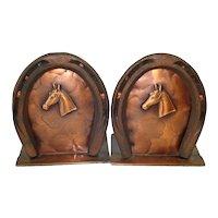 Craftsman Copper Horseshoe Bookends