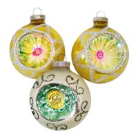Yellow Green West German Indent Christmas Ornaments