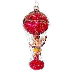 Wire Wrap Petite Balloon Glass Christmas Ornament Scrap Cherub