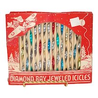 Box Diamond Ray Jeweled Icicles Christmas Ornaments 2-Tone