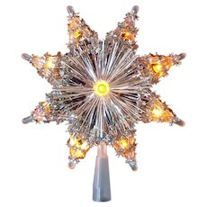 Tinsel Snowflake Lighted Christmas Tree Topper