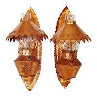 Arts Crafts Pair Electric Copper Candle Sconces Dewson