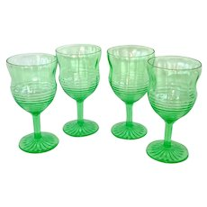 Hocking Circle Green Depression Glass 4 Ice Tea Goblets