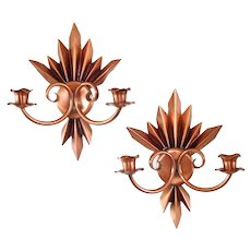 Pleated Flame Solid Copper Double Candle Sconces