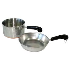Revere Copper Bottom Child's Toy Cookware Skillet, Saucepan Measure