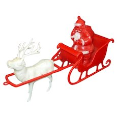 Hard Plastic 1950s Santa Reindeer Sleigh Candy Container