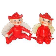Japan 1950s Red Porcelain Pixie Elf Figurines Tulle Wings