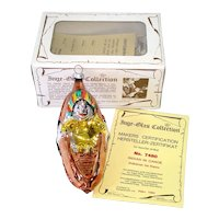 Indian in Canoe Inge Glass Christmas Ornament in Box