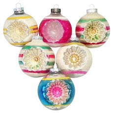 6 Large Shiny Brite Double Indent Glass Christmas Ornaments