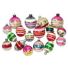 18 Colorful Stripes USA Glass Christmas Ornaments