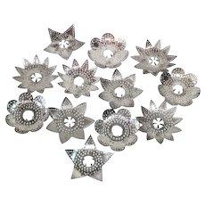 Diamond Ray 1920s Metal Punched Tin Christmas Light Reflectors