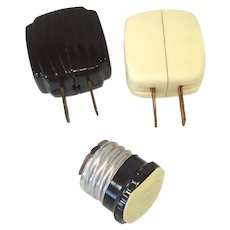 Bakelite Outlet Adaptor Plugs for Christmas Lights, Lamps