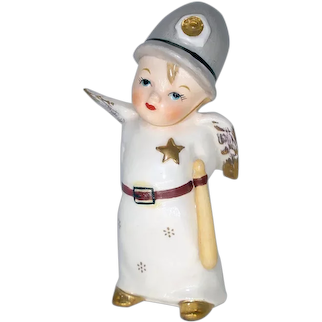 Little Boy Policeman Angel Figurine 1950s Japan
