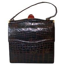 Mid Century Alligator Kelly Style Handbag Purse