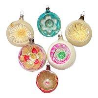 6 Vintage German, Czech, Austrian Indent Christmas Ornaments
