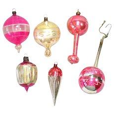 Antique German Glass Balloon, Parachute Christmas Ornaments