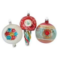 Fancy West Germany Triple Indent Glass Christmas Ornaments