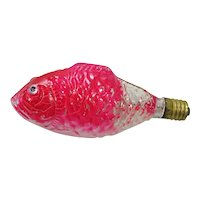 Pink Fish Clear Glass Figural Christmas Light Bulb Works