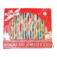 Box Diamond Ray Jeweled Metal Icicles Christmas Ornaments