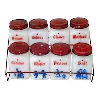 Dutch Theme Milk Glass Spice Jar Set Wire Rack