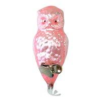 Pink Owl Czech Clip Glass Christmas Ornament