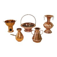 Miniature Solid Copper Kitchenware 5 Pieces Doll Display