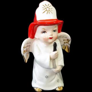 Little Boy Fireman Angel Figurine 1950s Japan