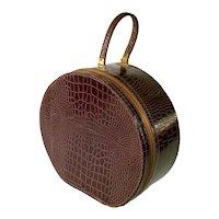 Faux Alligator Round Hat Box Train Case Suitcase