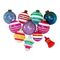 11 Unsilvered 1940s World War II Christmas Ornaments