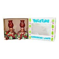 Copper Christmas Kerosene Oil Lamp Pair Mint in Box