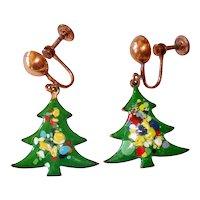 Christmas Tree Earrings Enamel On Copper