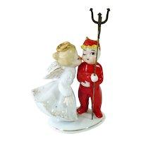 Lefton 1950s Angel Kissing Devil Figurine