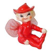 Japan 1950s Red Porcelain Pixie Elf Figurine Tulle Wings