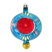 Poland Red Blue Indent Finial Glass Christmas Ornament