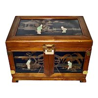 Large Vintage Jewelry Chest Soapstone Asian Figures