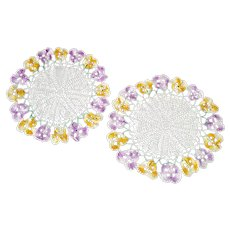 Crocheted Purple Yellow Vintage Pansy Flower Doilies