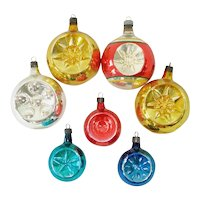 7 Premier 1940s Glass Indent Christmas Ornaments