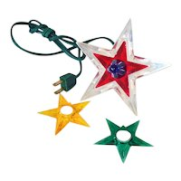 Noma Glo Star Lighted Lucite Christmas Tree Topper Red Gold Green