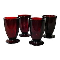 4 Anchor Hocking Royal Ruby Footed Ice Tea Tumblers