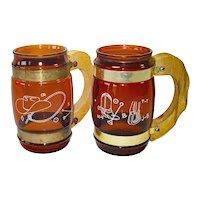 2 Siesta Ware Western Cowboy Saloon Glass Barrel Mugs