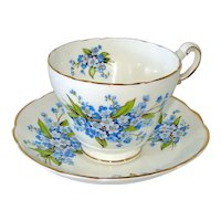 Forget-Me-Nots English Bone China Cup and Saucer Set