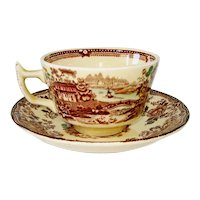 Alfred Meakin Multicolor Tonquin Cups Saucers Set of 3