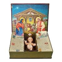 Ideal 1950s Most Wonderful Story Christmas Nativity Scene Doll Display