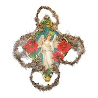 Angel Paper Scrap and Tinsel Christmas Ornament