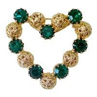 Green Rhinestone Filigree Heart Brooch Pin