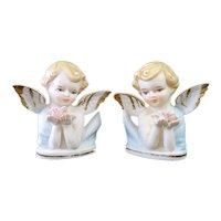 1960s Bisque Porcelain Cherub Angel Figurines